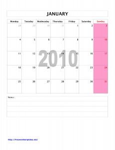 2010 Monthly Calendar