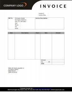 Hourly Service Invoice with SD1 Style Letterhead