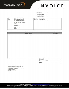 Service Invoice with SD1 Style Letterhead
