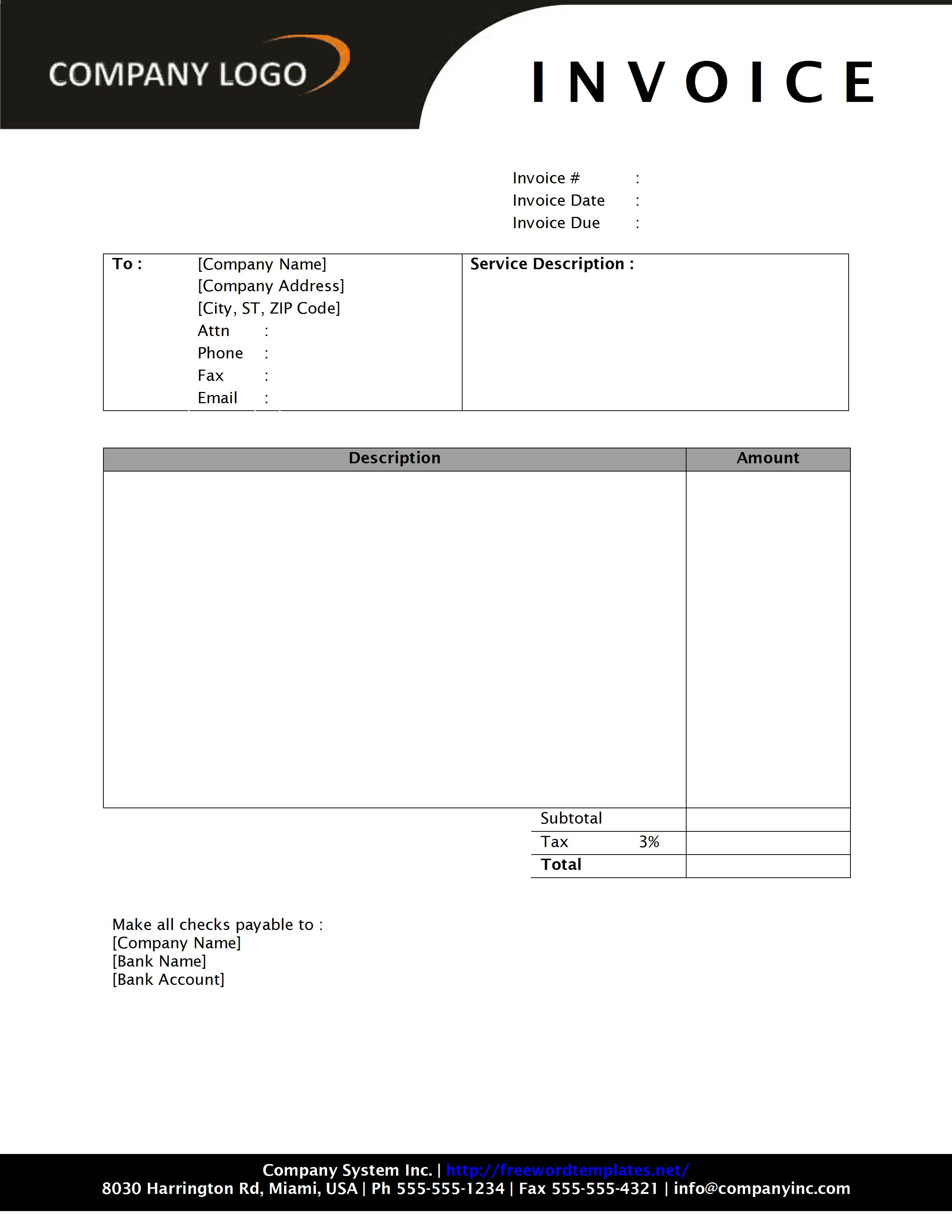 rental invoice wordtemplates net payment receipt middot general service invoice