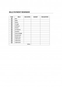 Bills Payment Schedule for Word