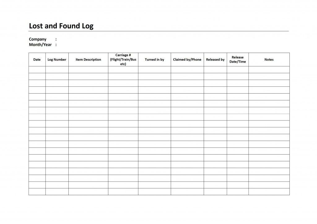 Lost and Found Log for Word