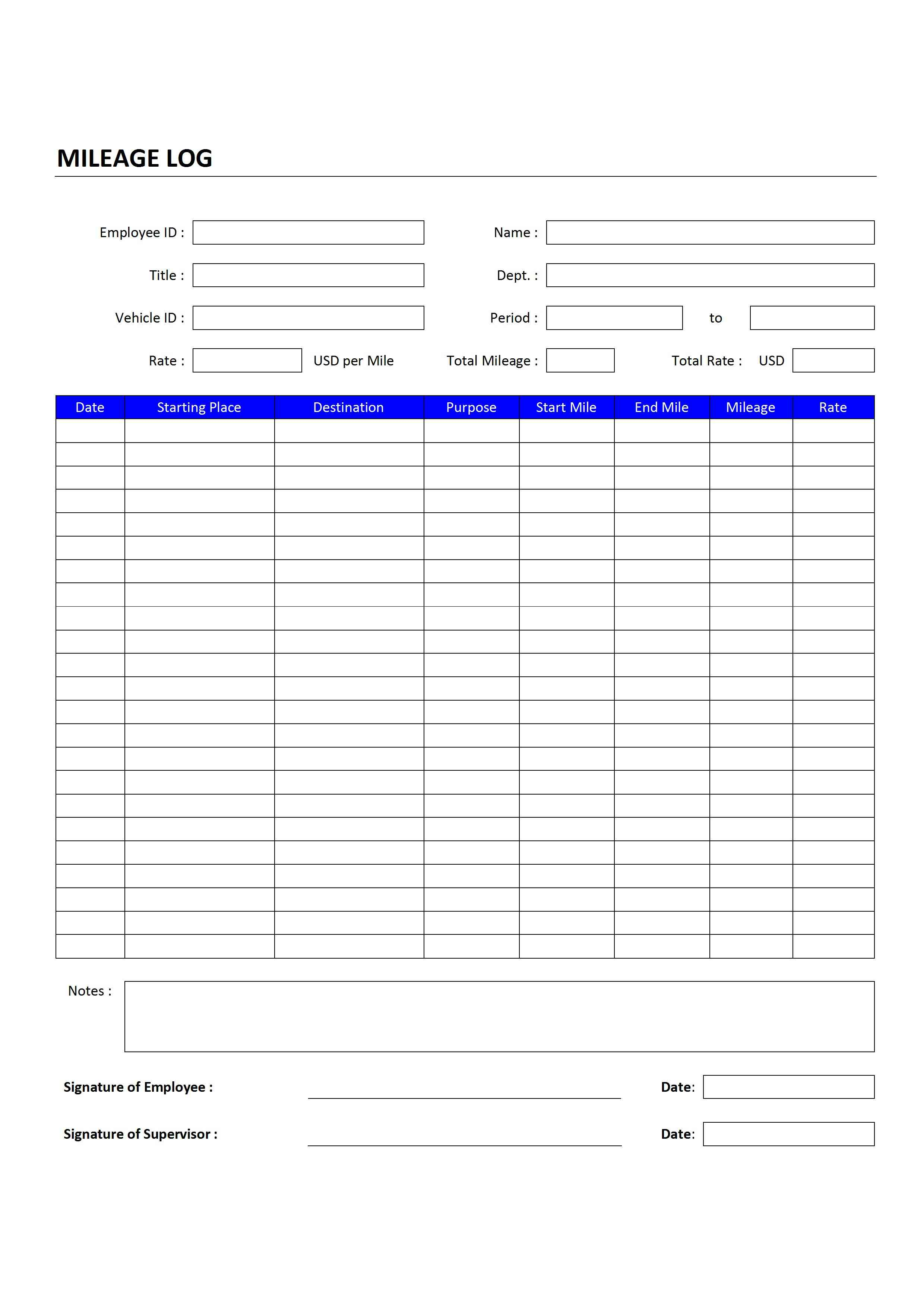 mileage log wordtemplates net mileage log for word
