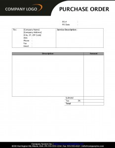 Purchase Order Service Template for Word