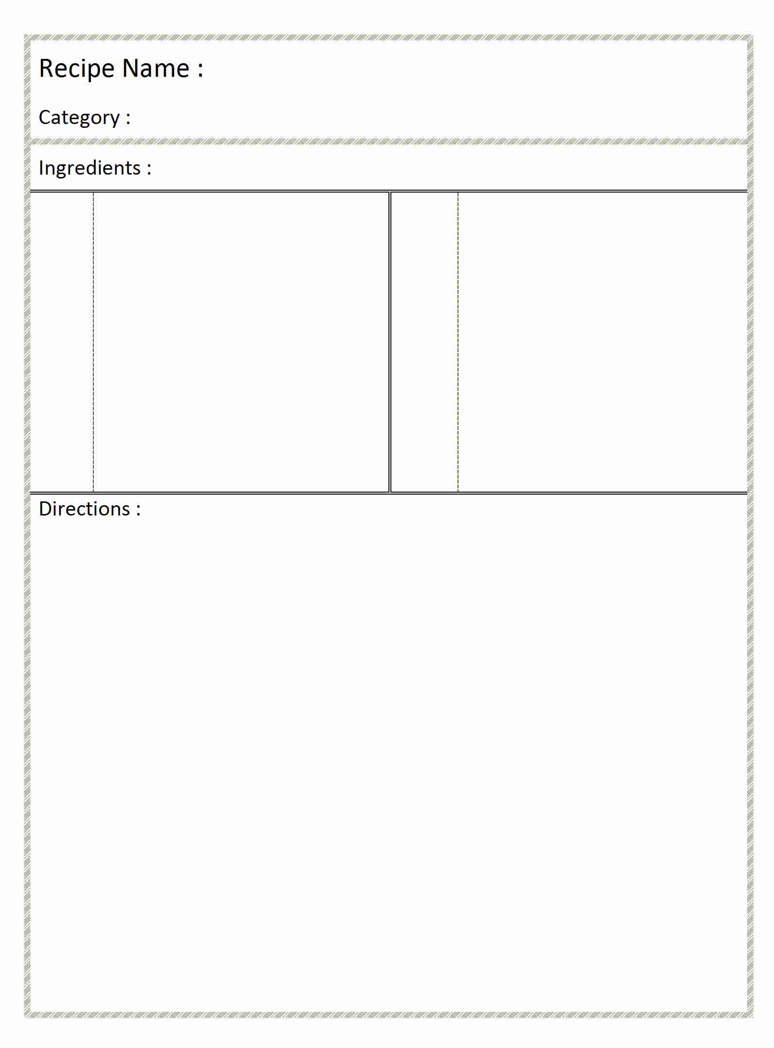 Blank Recipe Card – Blank Recipe Template