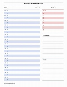 School Daily Schedule Template for Word