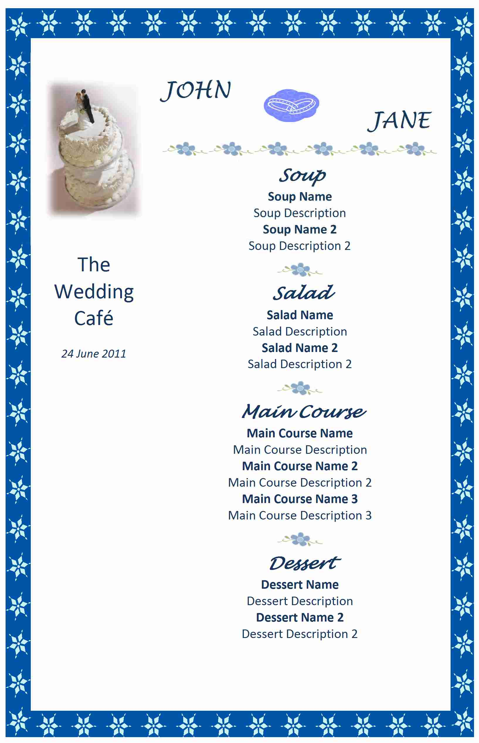 Wedding menu for Menu templates for weddings
