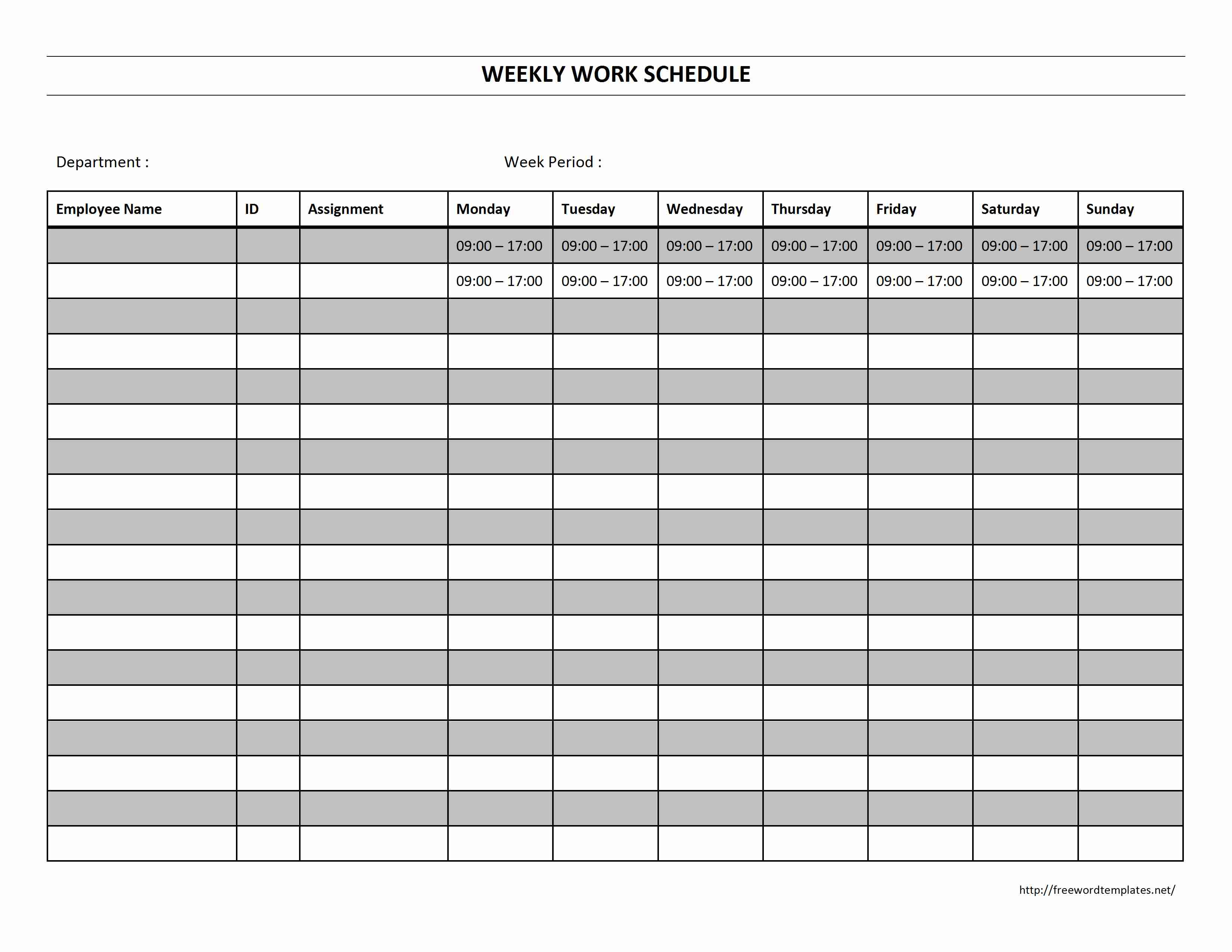 Weekly Work Schedule Template for Word