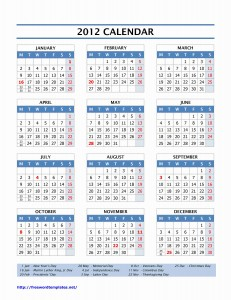 2012 Yearly Calendar for Word
