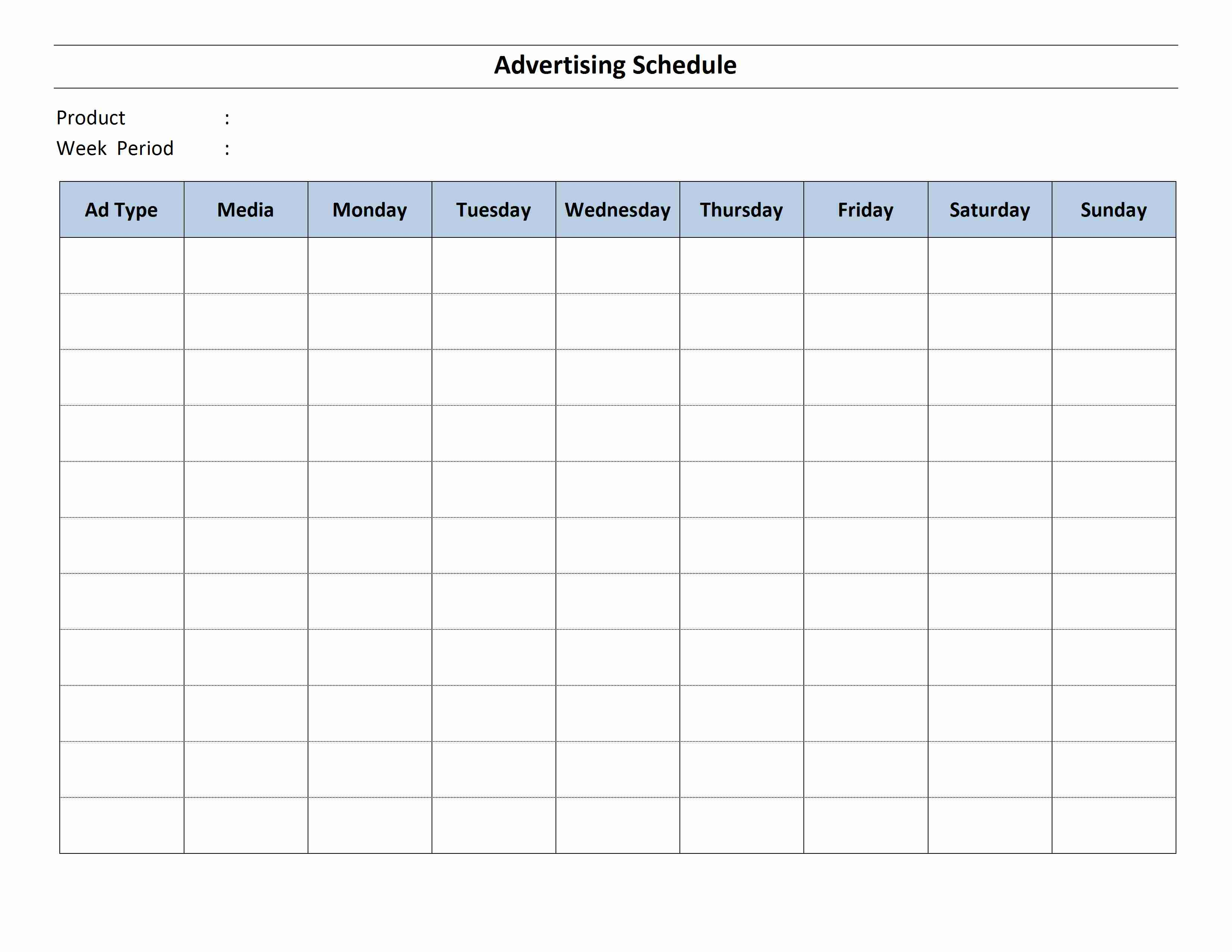 Advertising schedule for Radio schedule template