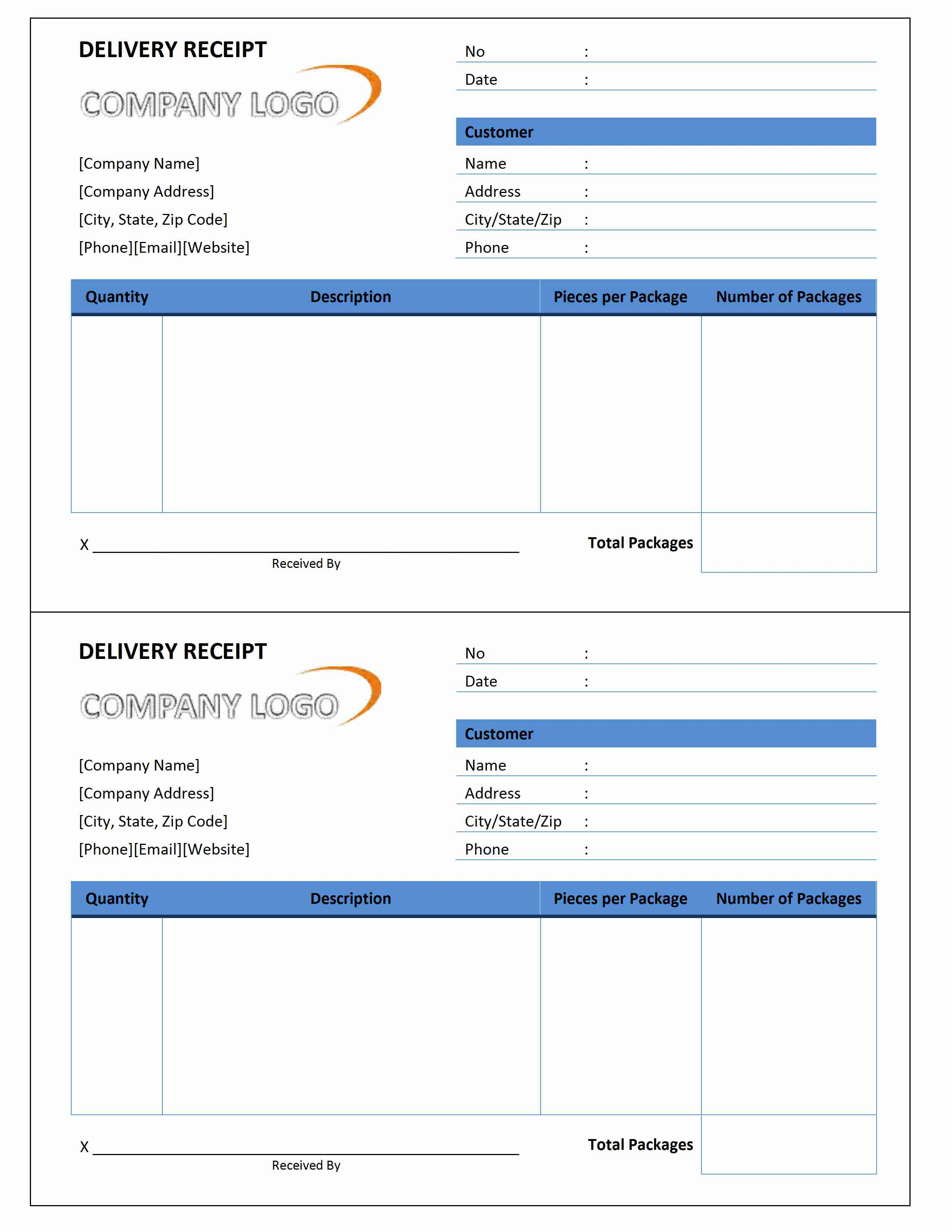 Delivery Receipt Template for Word