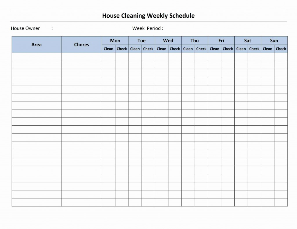 House Cleaning Schedule Template for Word