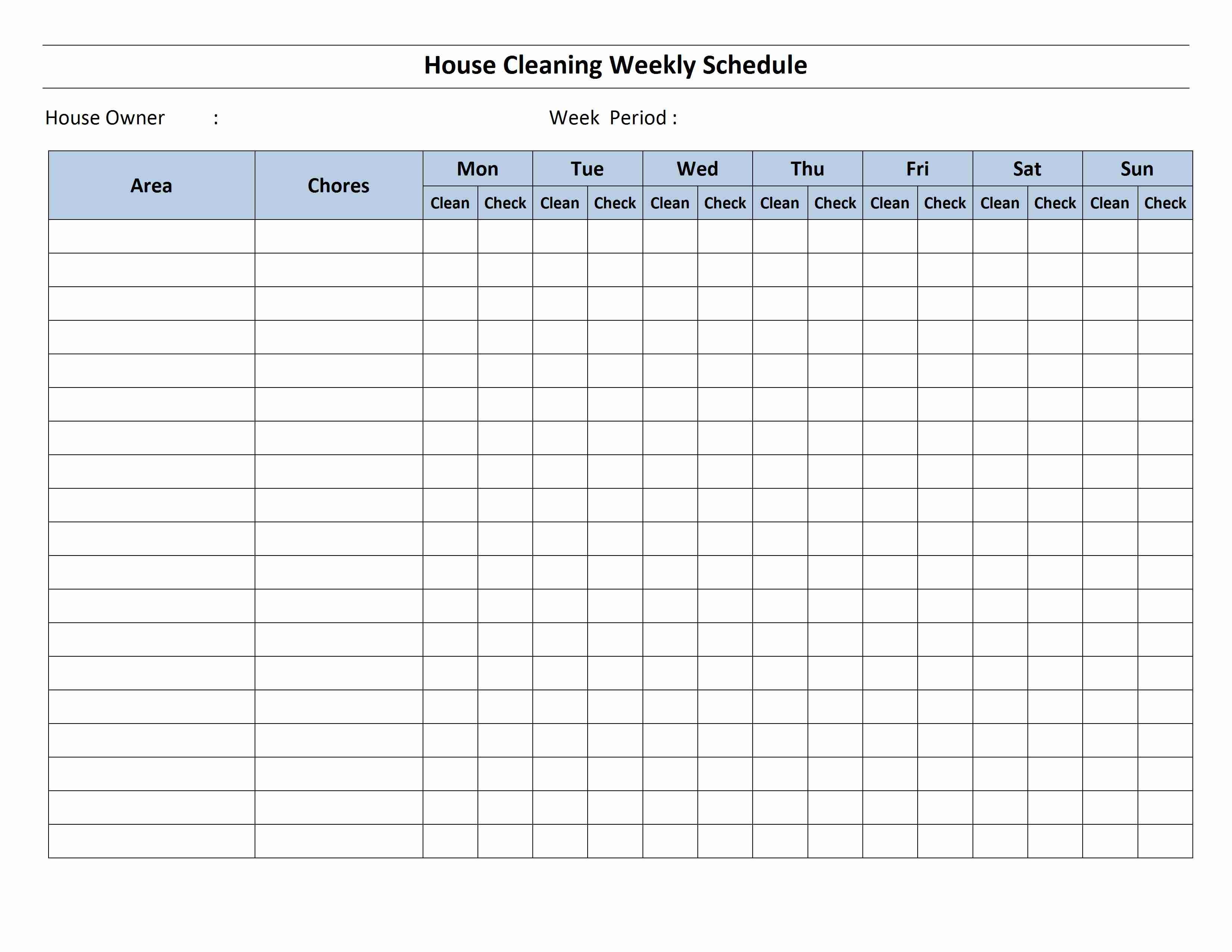 Schedule word templates free word templates ms word for Domestic cleaning schedule template