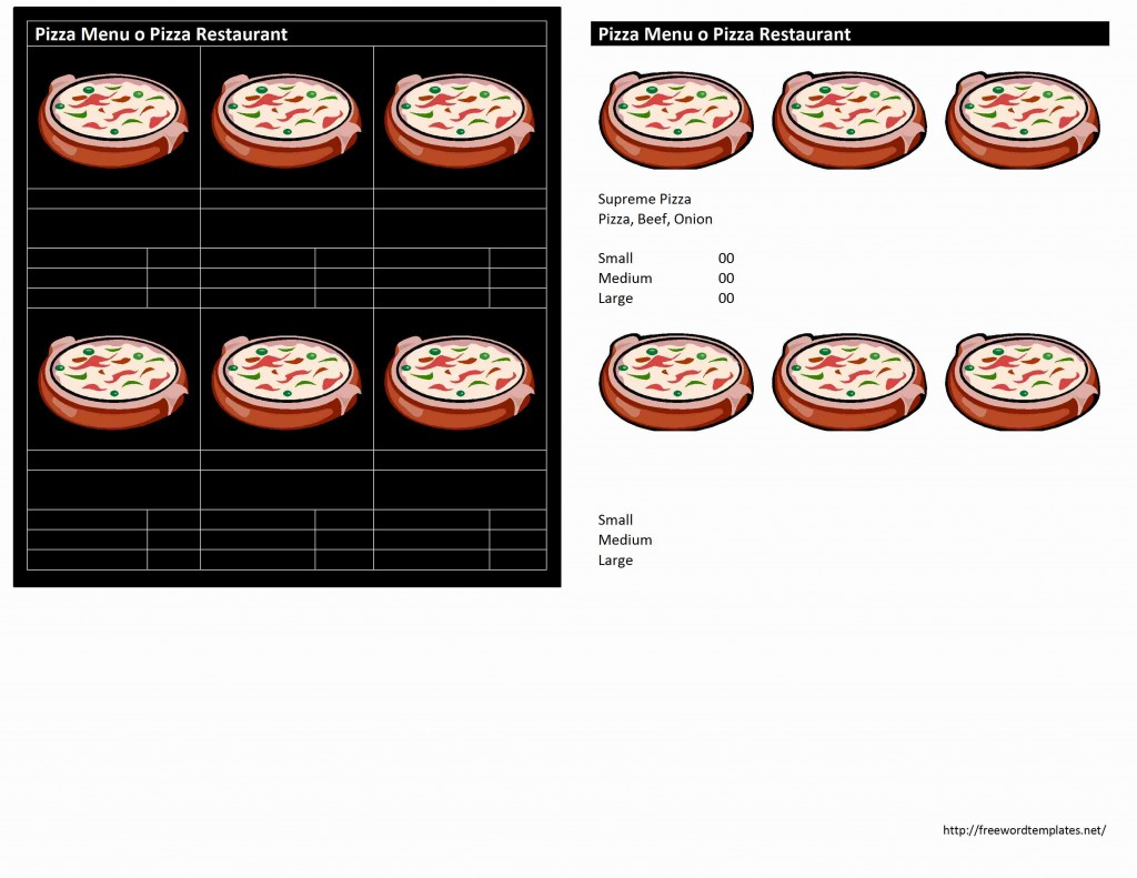 Pizza Menu Template for Word