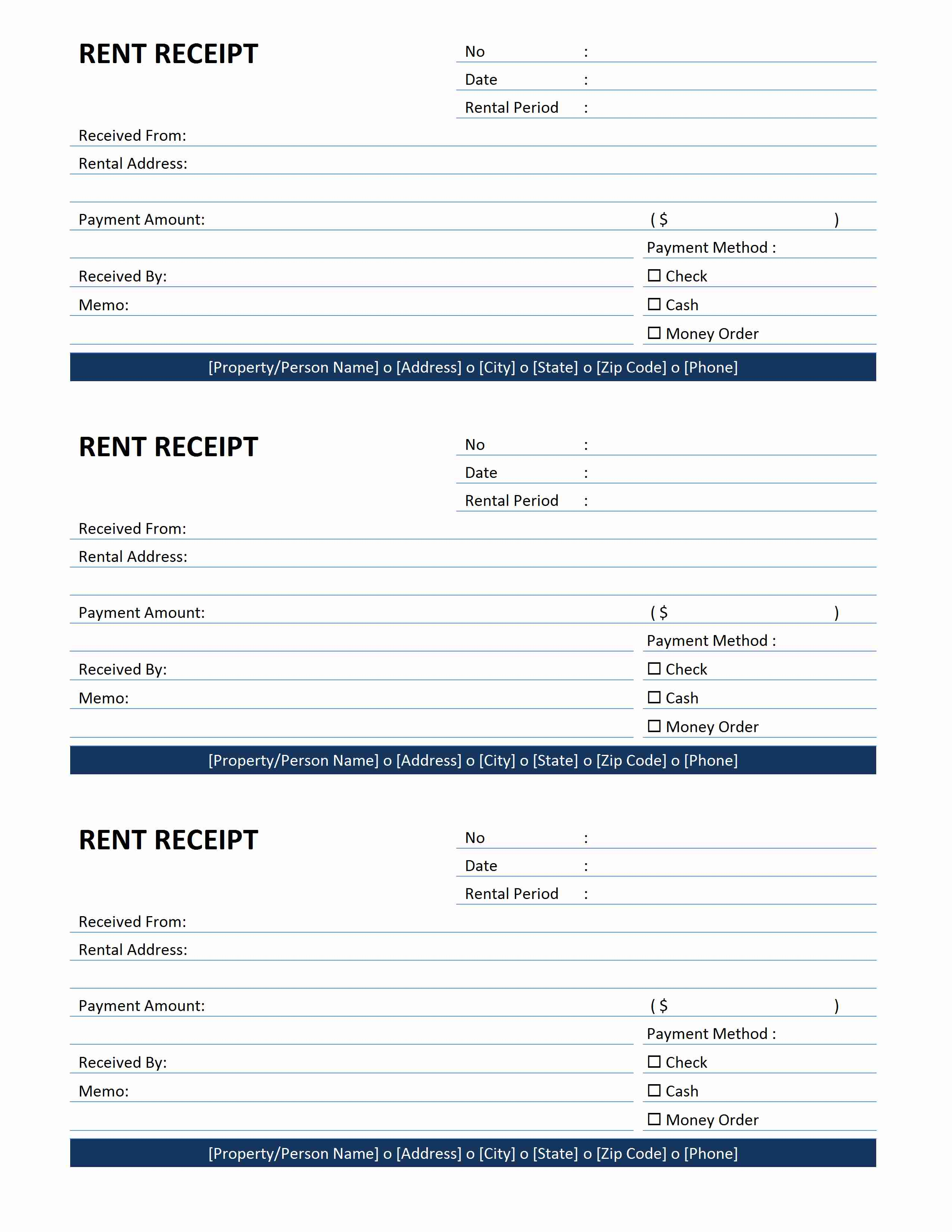 Example Rent Receipt  Printable Rent Receipts