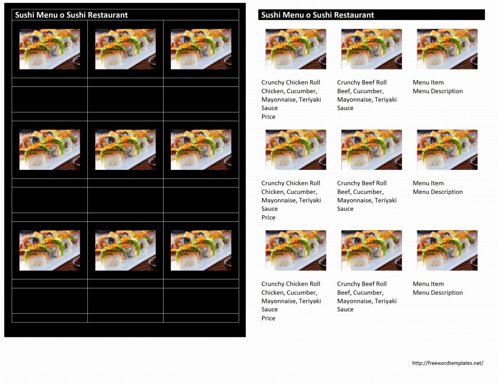 Sushi Menu Template for Word