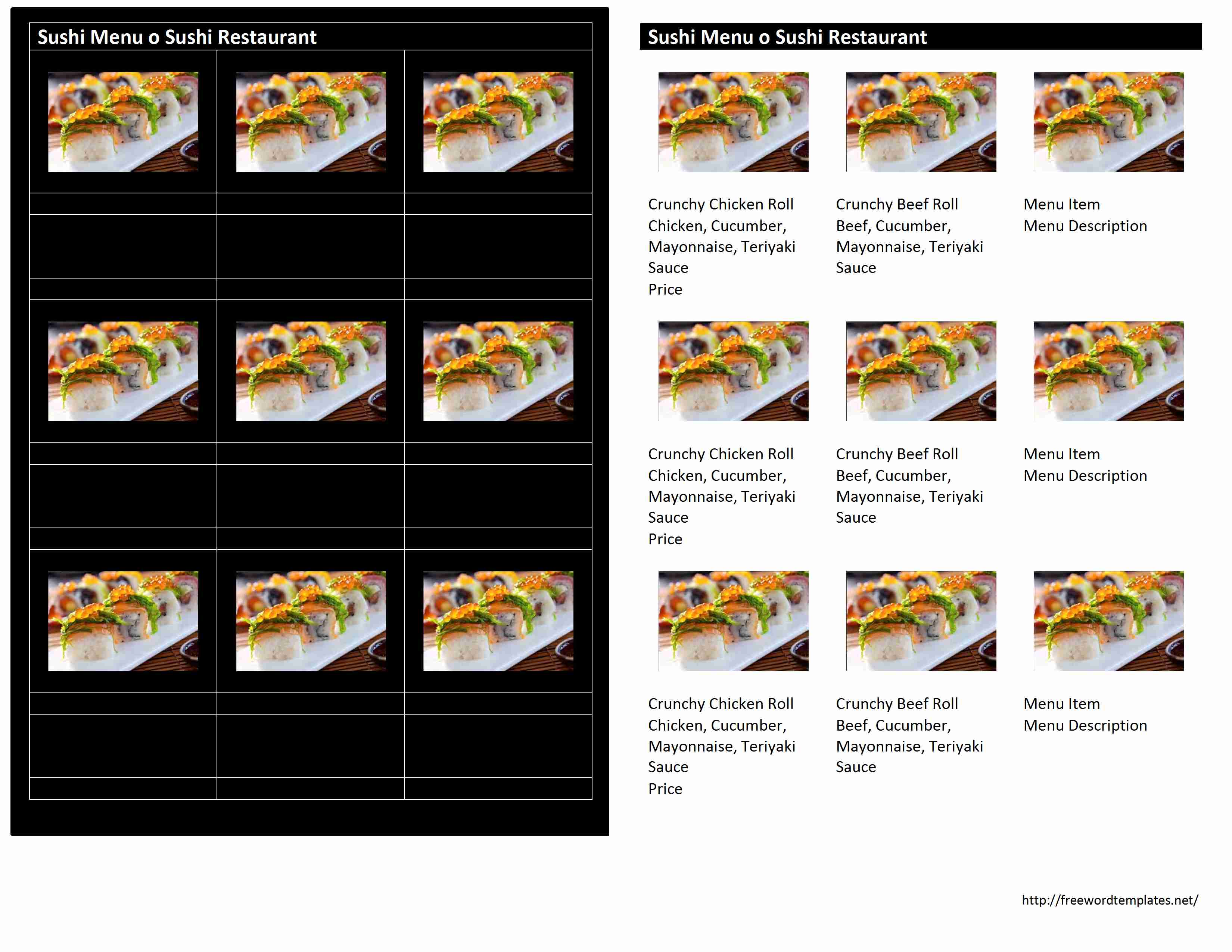 Freewordtemplates.net  Microsoft Word Restaurant Menu Template