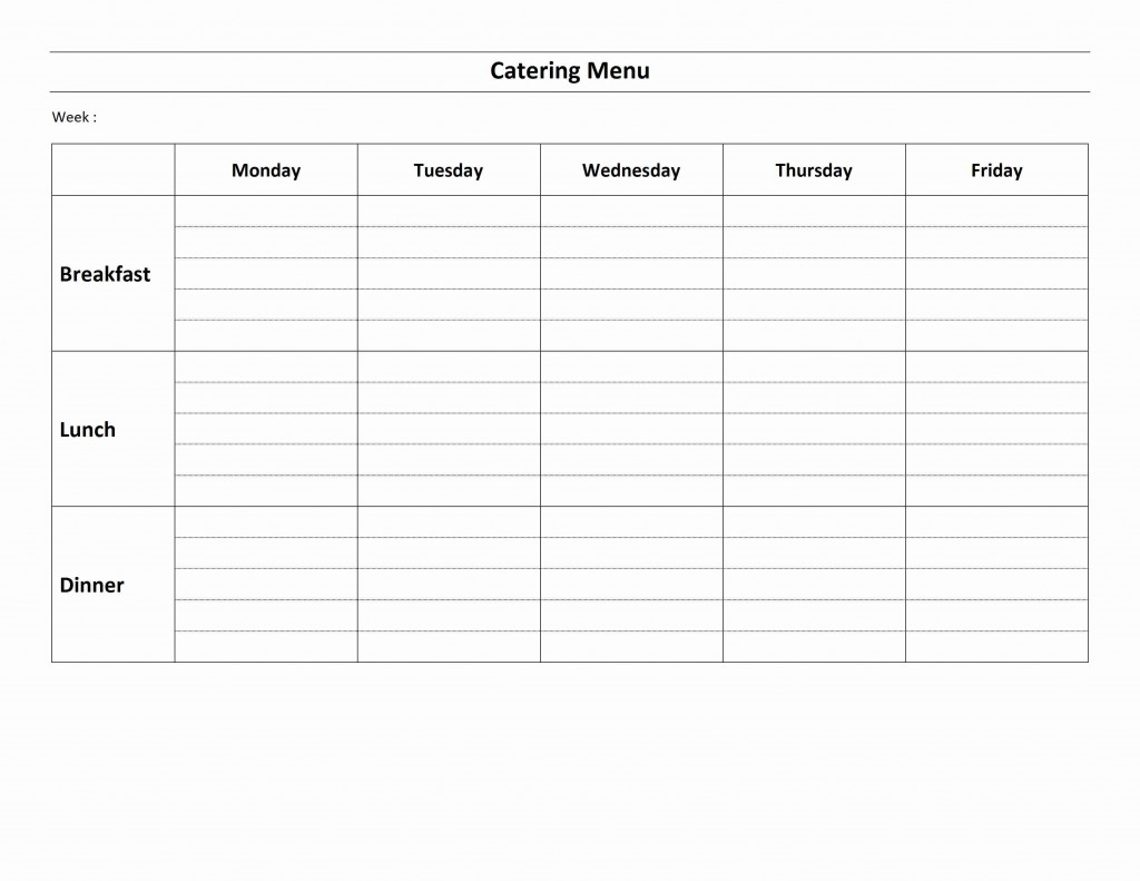 Weekly Catering Menu Template for Word