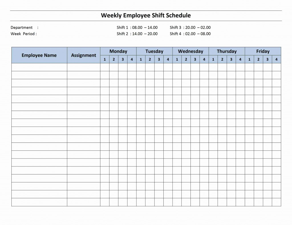 4 Shift Employee Shift Schedule Template for Word