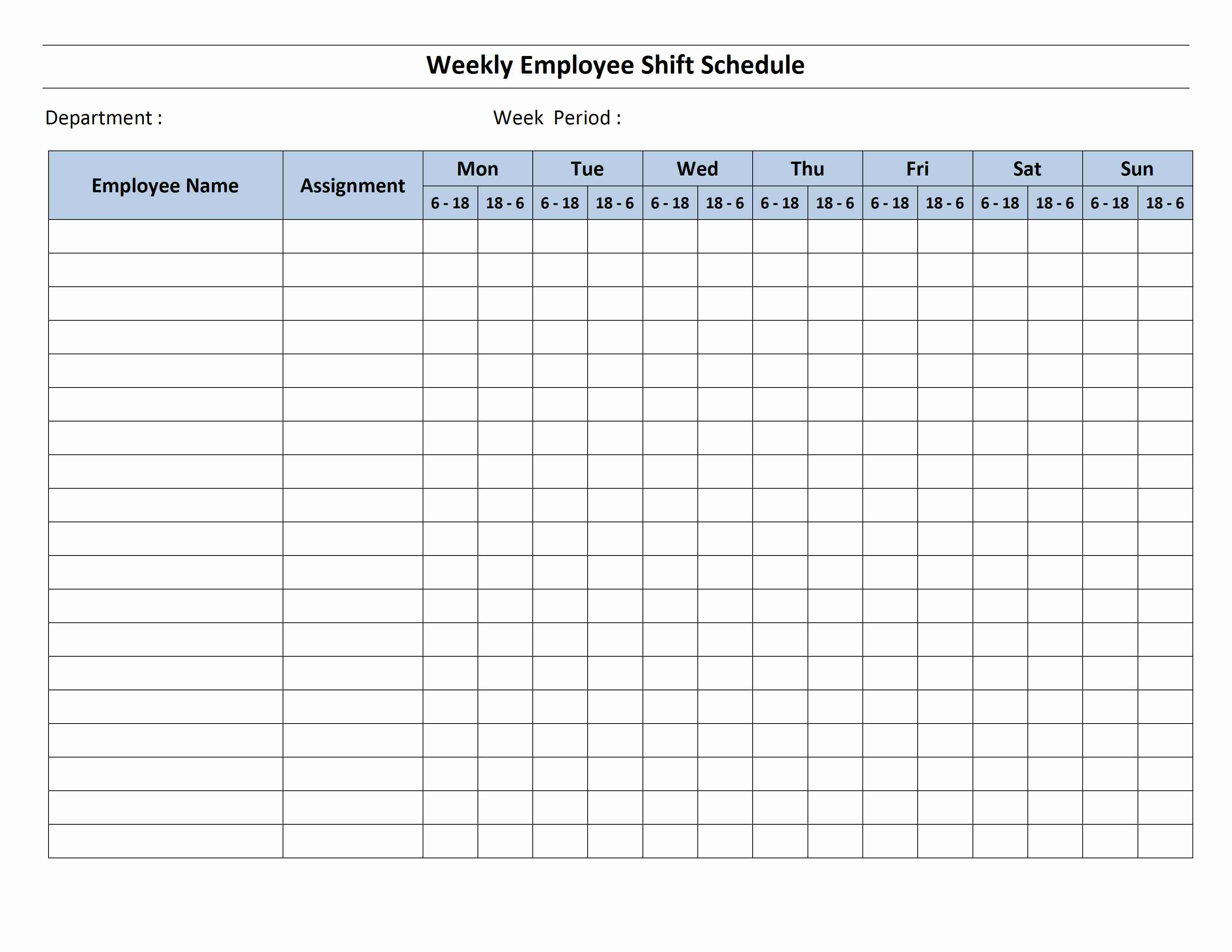 12 Hour Shift Schedule Template for Word