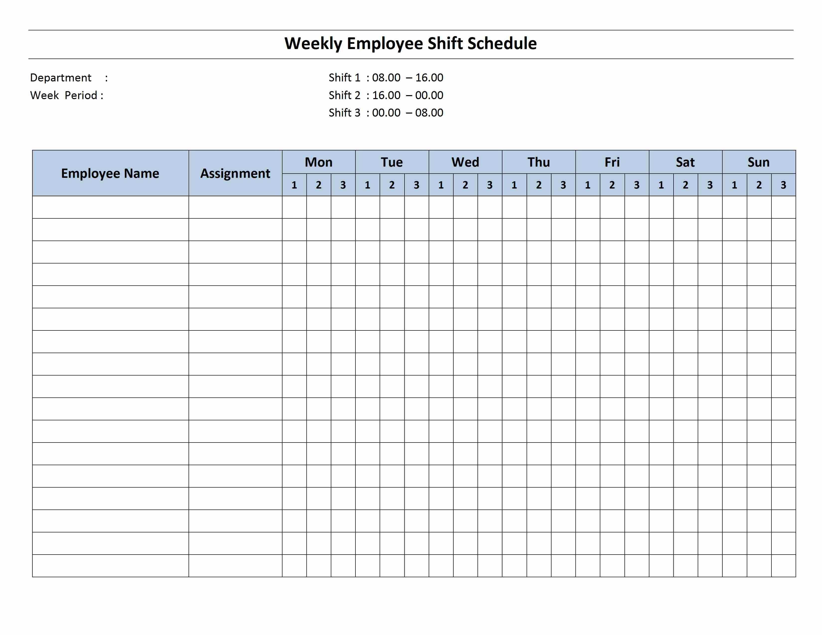 Weekly 8 Hour Shift Schedule Template for Word