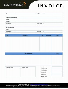 Auto Repair Invoice Template for Word