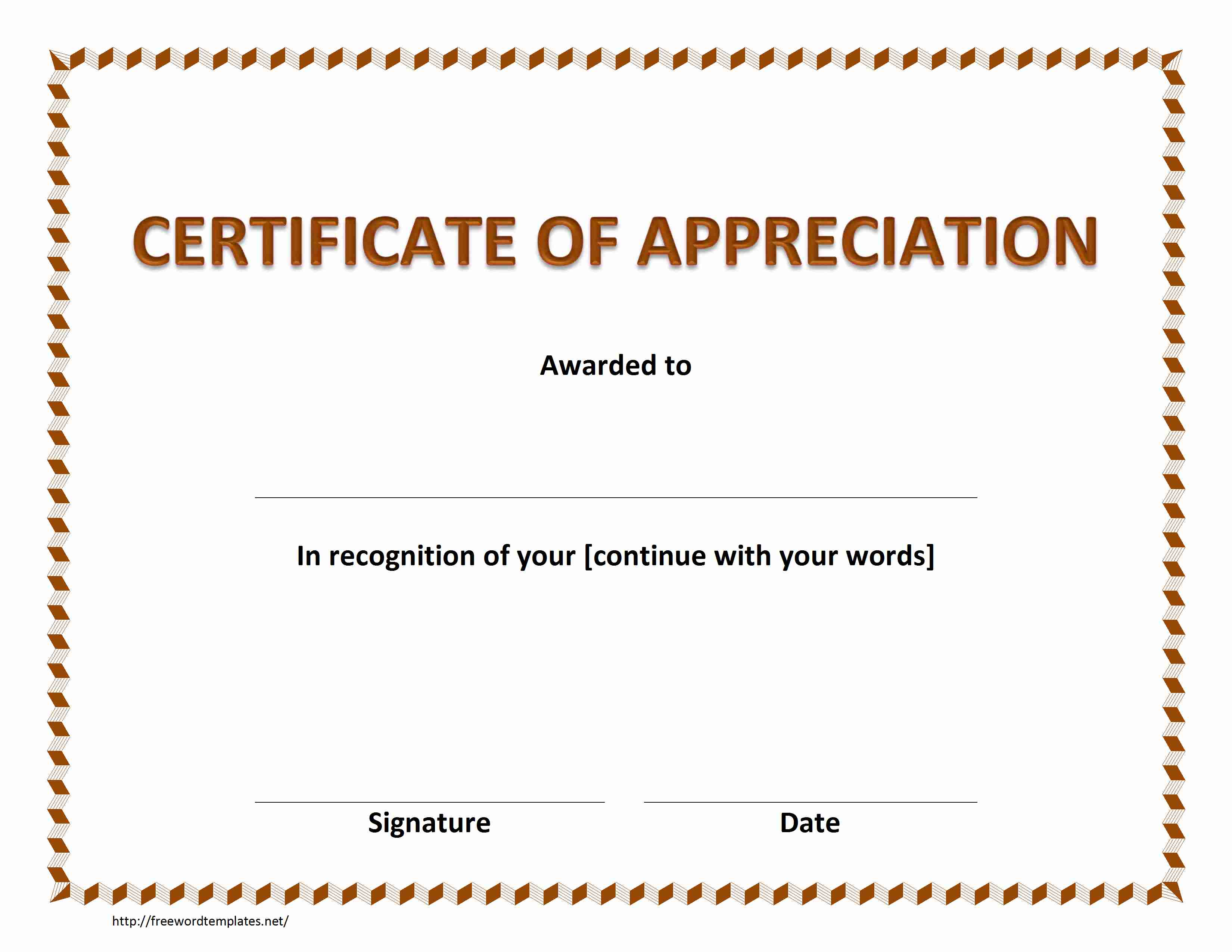 Certificate of appreciation 21g certificate of appreciation template for word yadclub Images