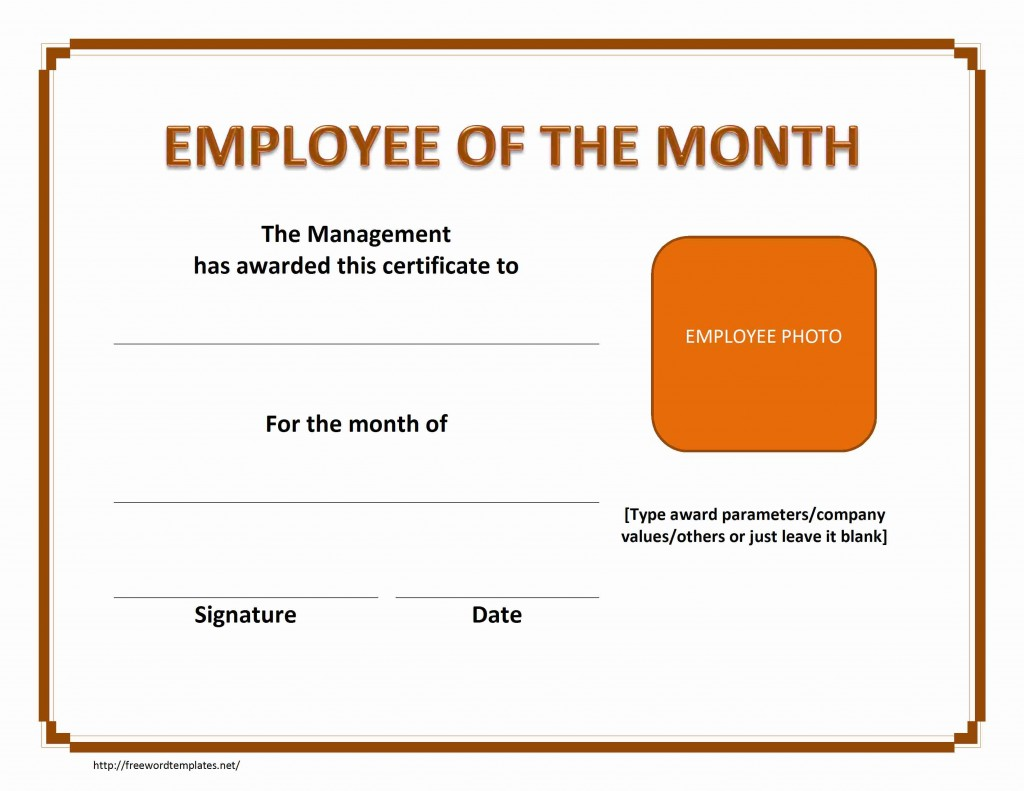 Employe of The Month Certificate Template for Word