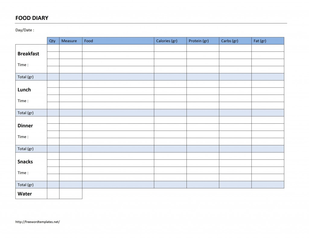 Food diary log for Keeping a food diary template