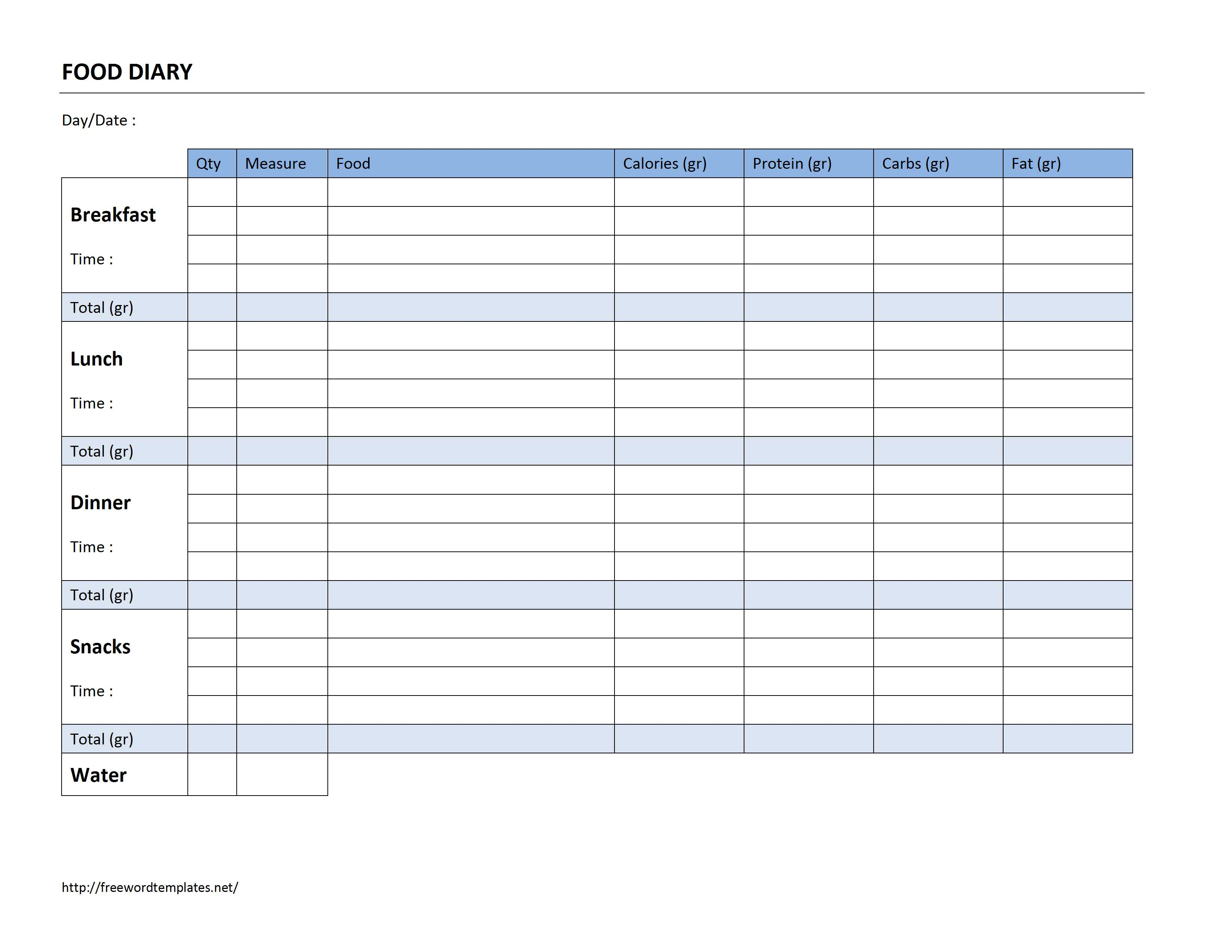 Food Diary Log Template for Word