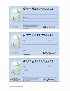 Spa Gift Certificate Template for Word