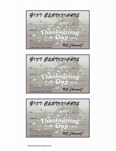 Thanksgiving Gift Certificate Template for Word
