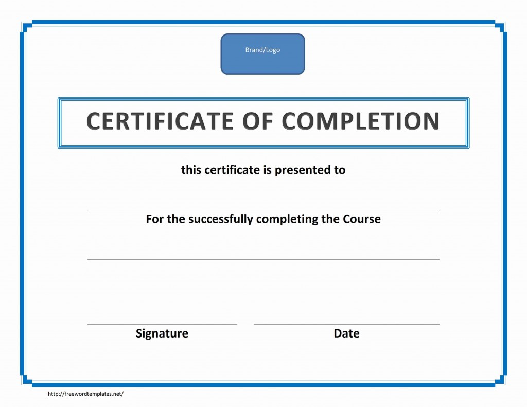 Training Certificate of Completion Template for Word