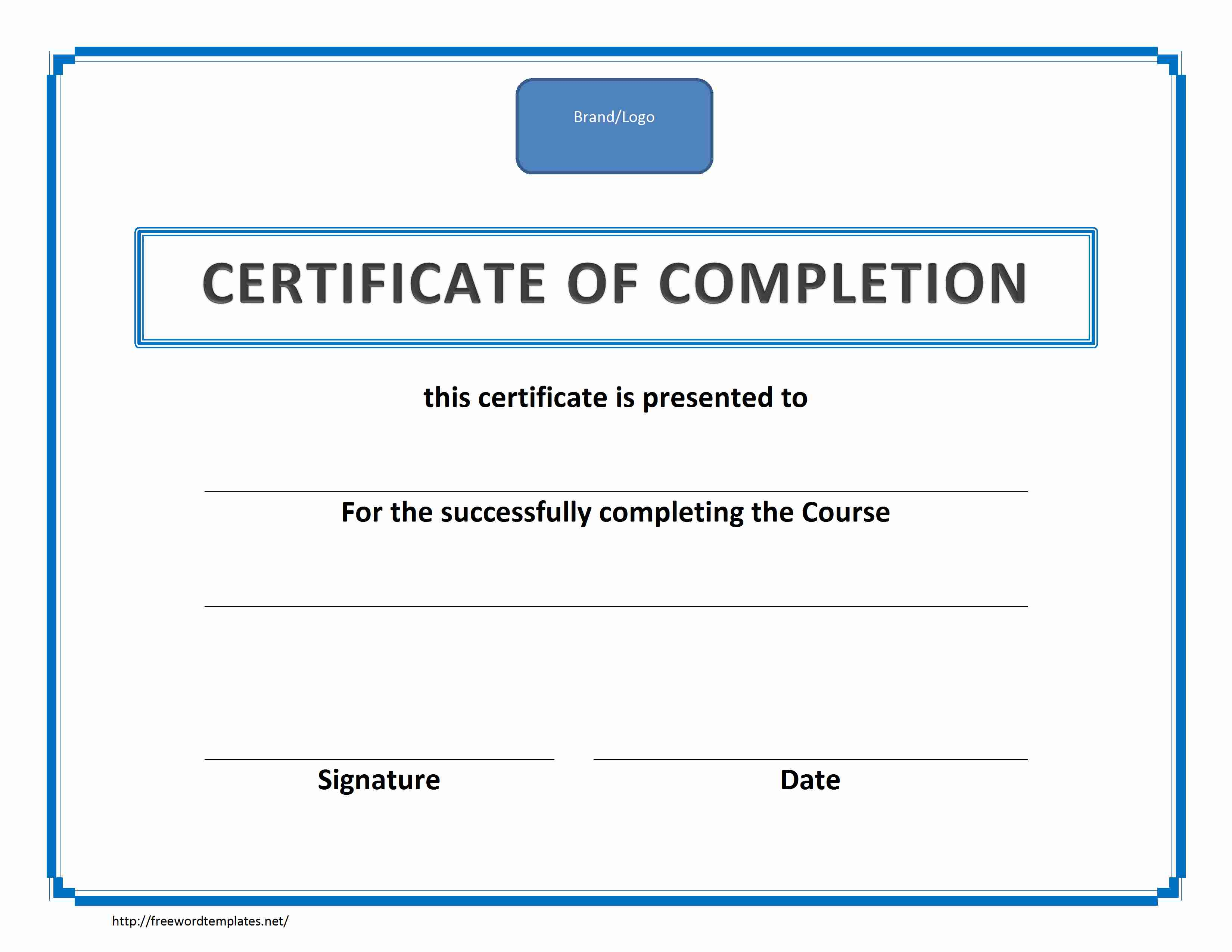 Freewordtemplates.net  Blank Certificates Of Completion