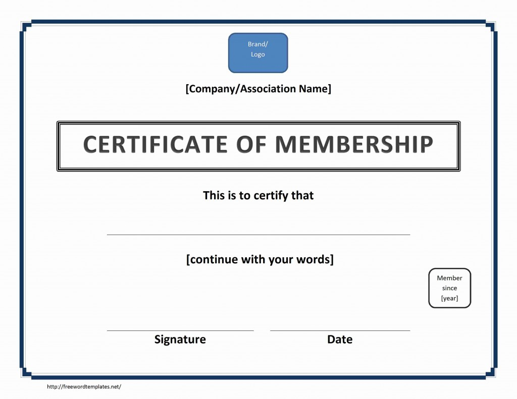 Certificate of Membership for Word
