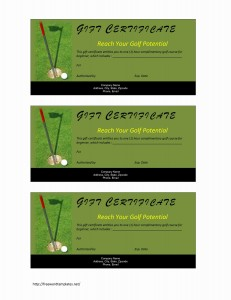 Golf Gift Certificate Template for Word