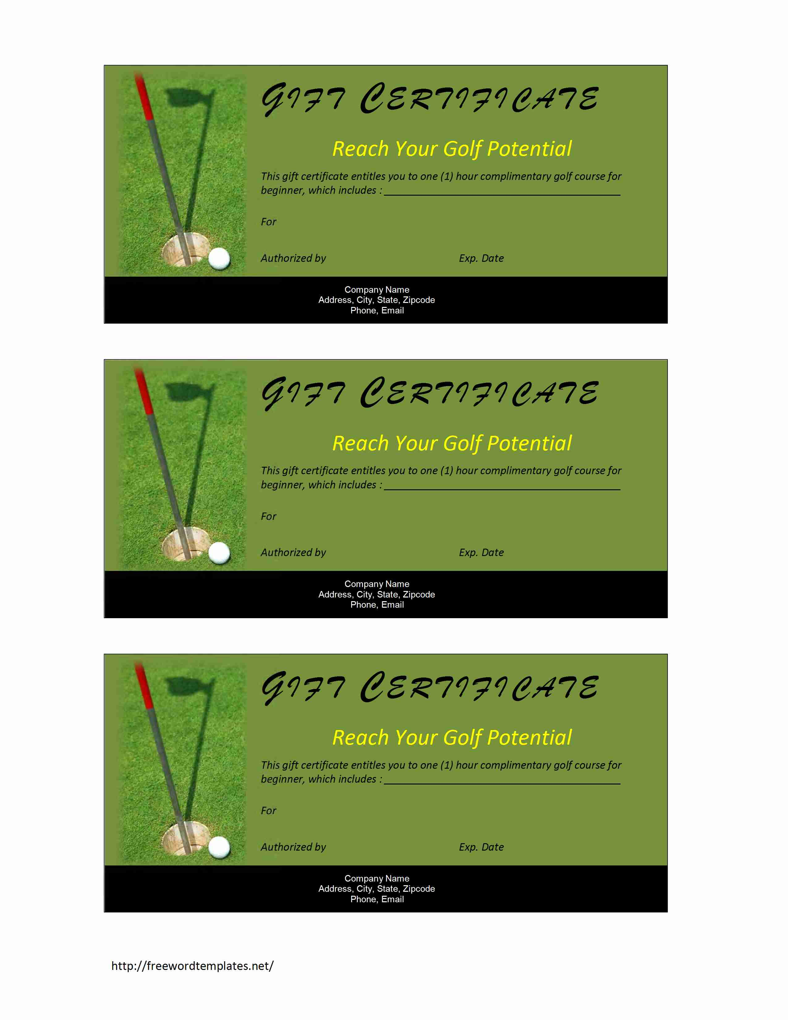 Golf Gift Certificate – Gift Voucher Templates for Word