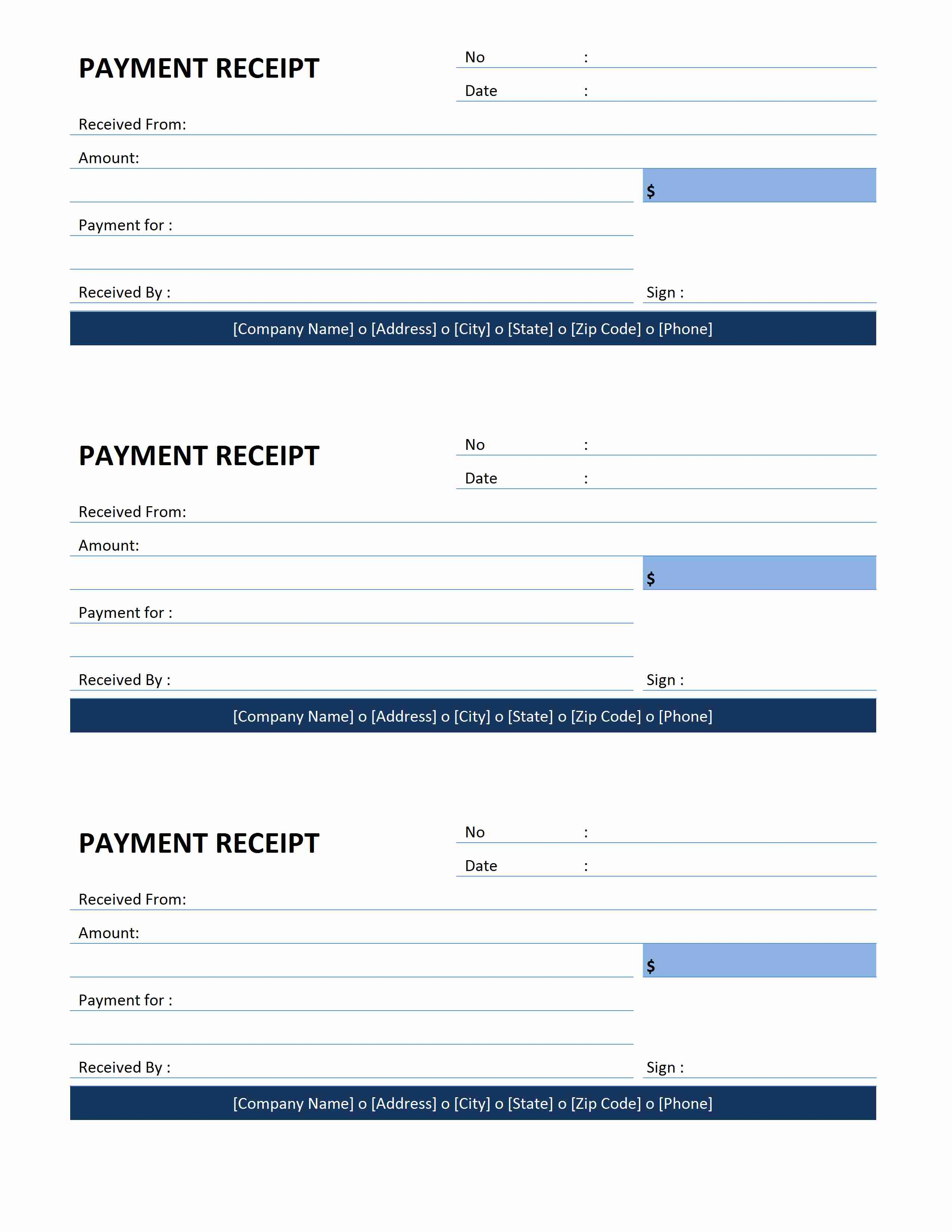 Payment Receipt – Ms Word Receipt Template