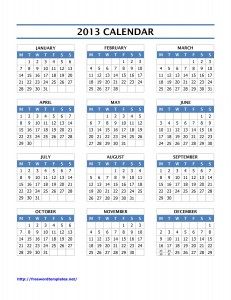 2013 Year Calendar for Microsoft Word