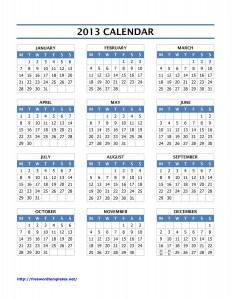 2013 Year Calendar for Microsoft Word