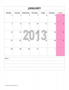 2013 Monthly Calendar Template for Microsoft Word