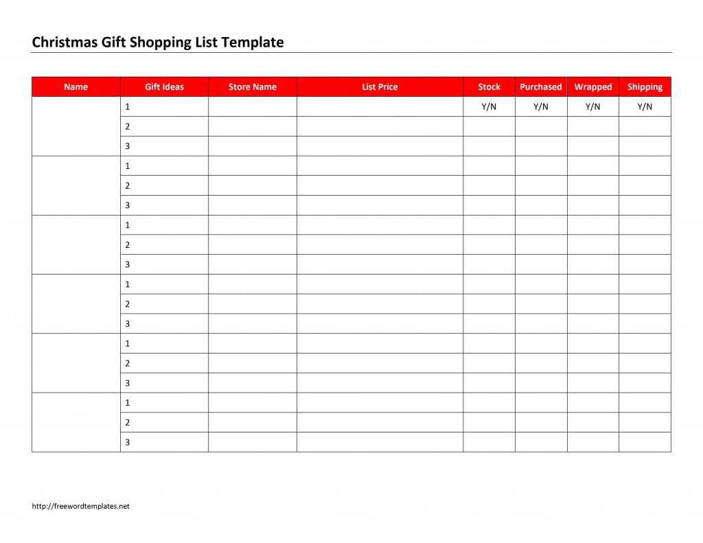 Christmas Gift Shopping List Template for Microsoft Word