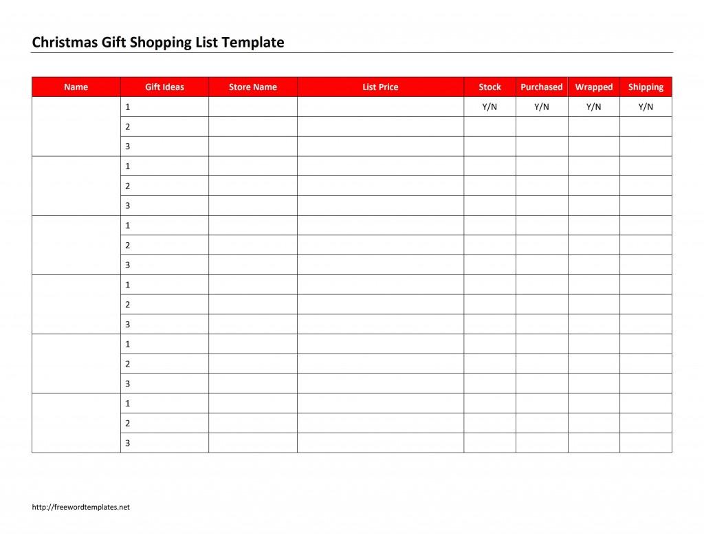 Christmas Gift Shopping List Template for Microsoft Word