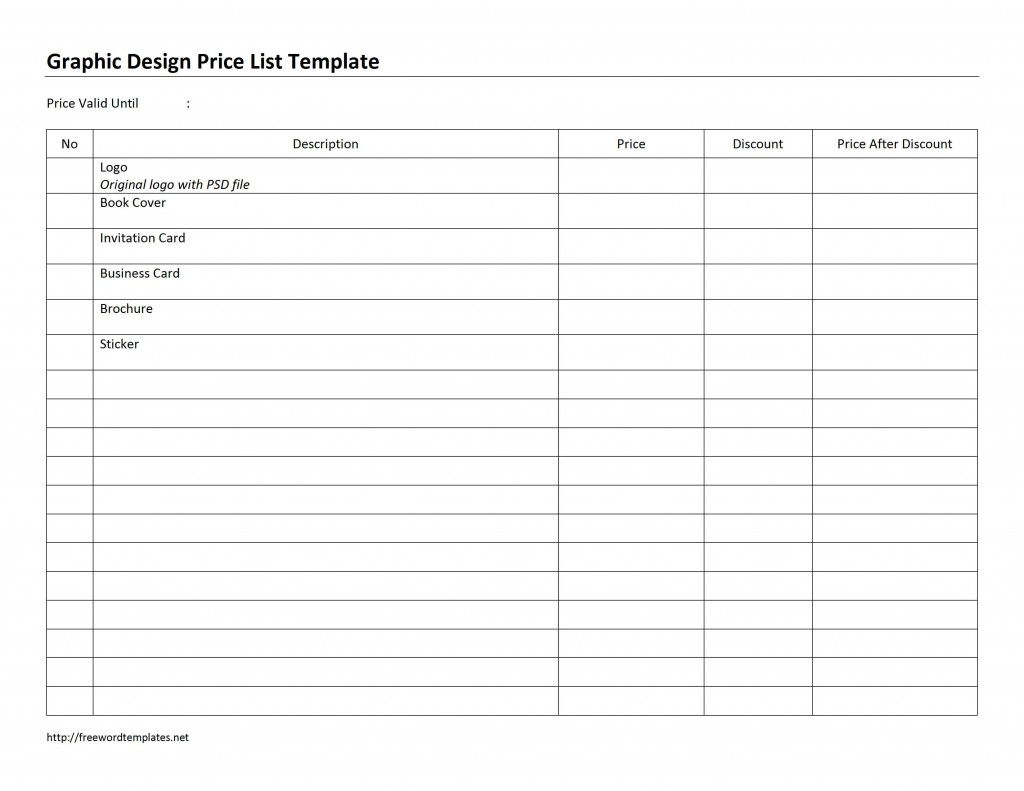 Graphic Design Price List Template for Microsoft Word