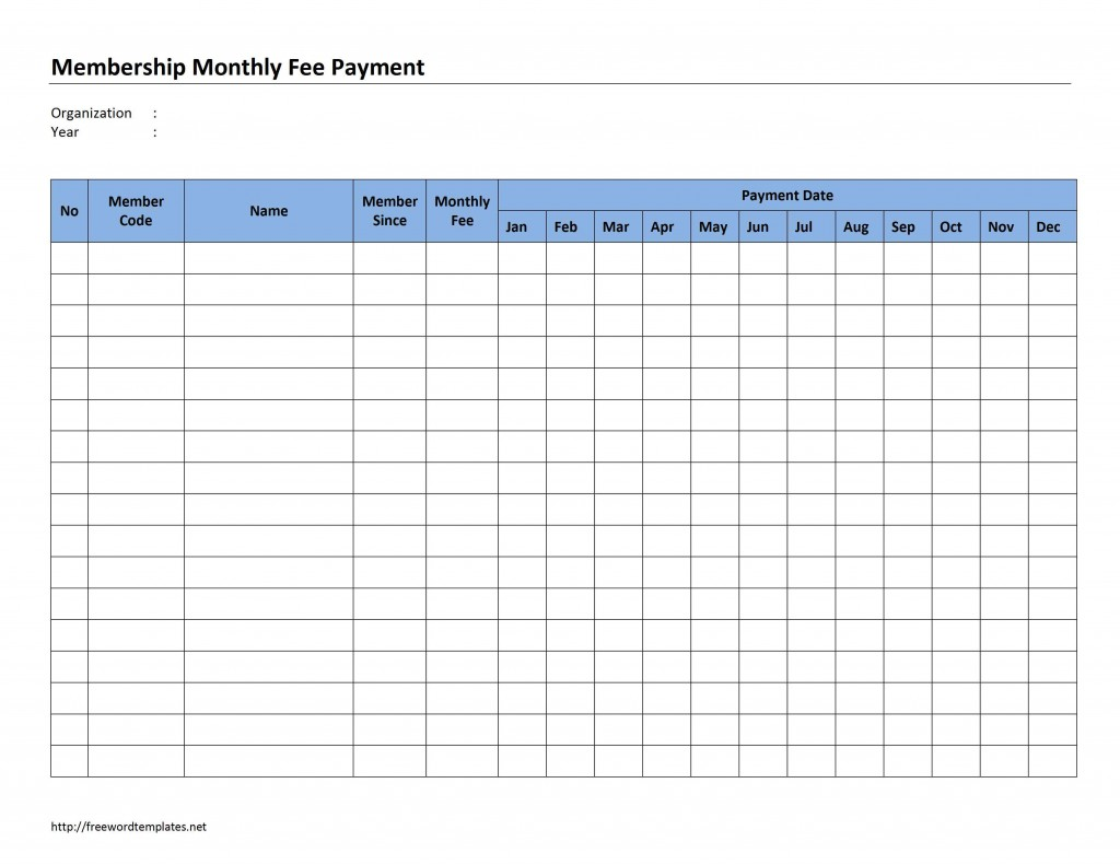 Membership Monthly Fee Payment Template