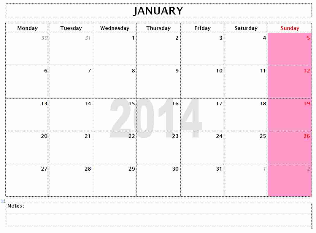 Microsoft Word 2014 Monthly Calendar Template