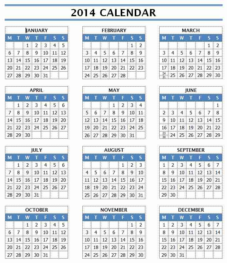 2014 Year Calendar Template for Microsoft Word