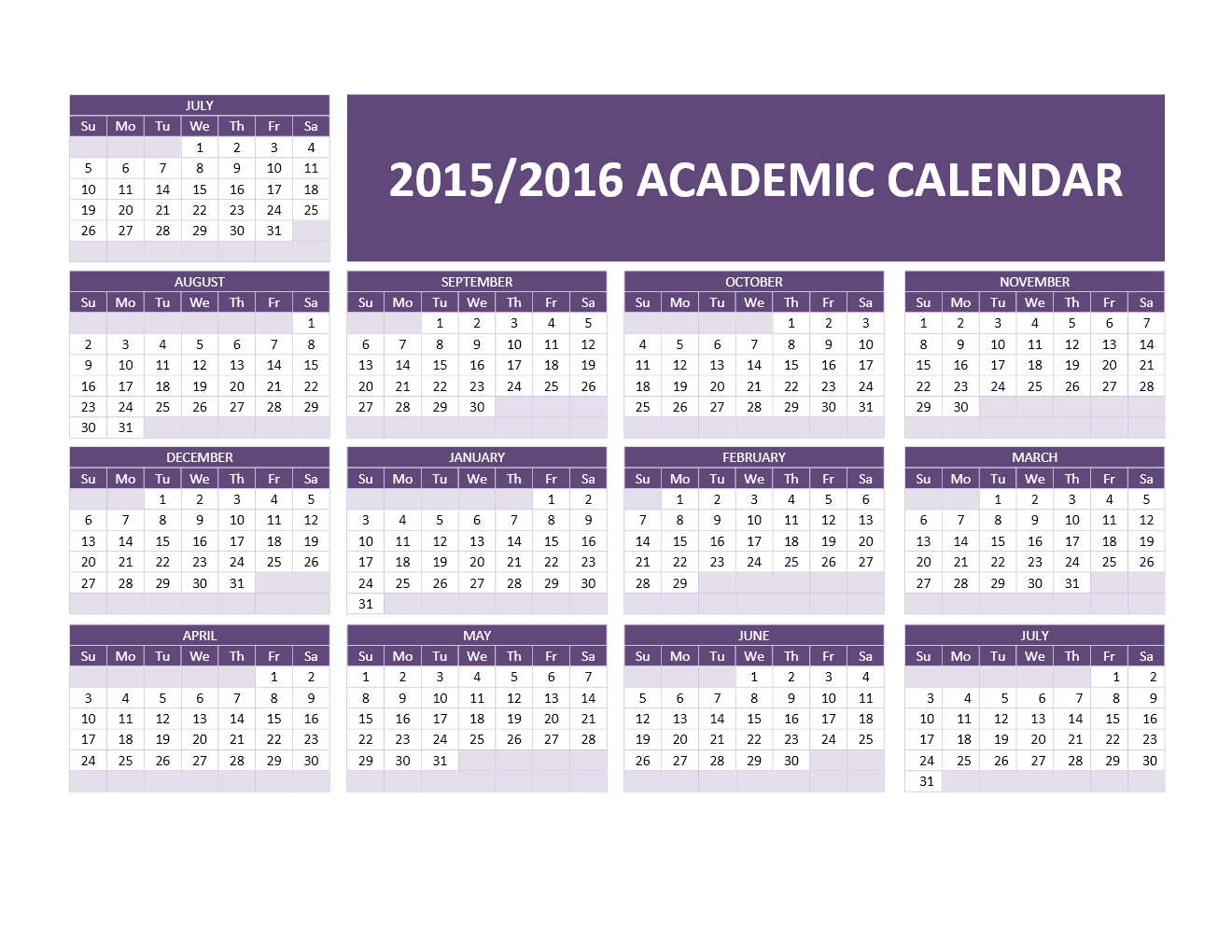 2015/2016 Academic Calendar Templates | Freewordtemplates.net