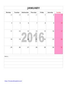 2016 Monthly Calendar - Word