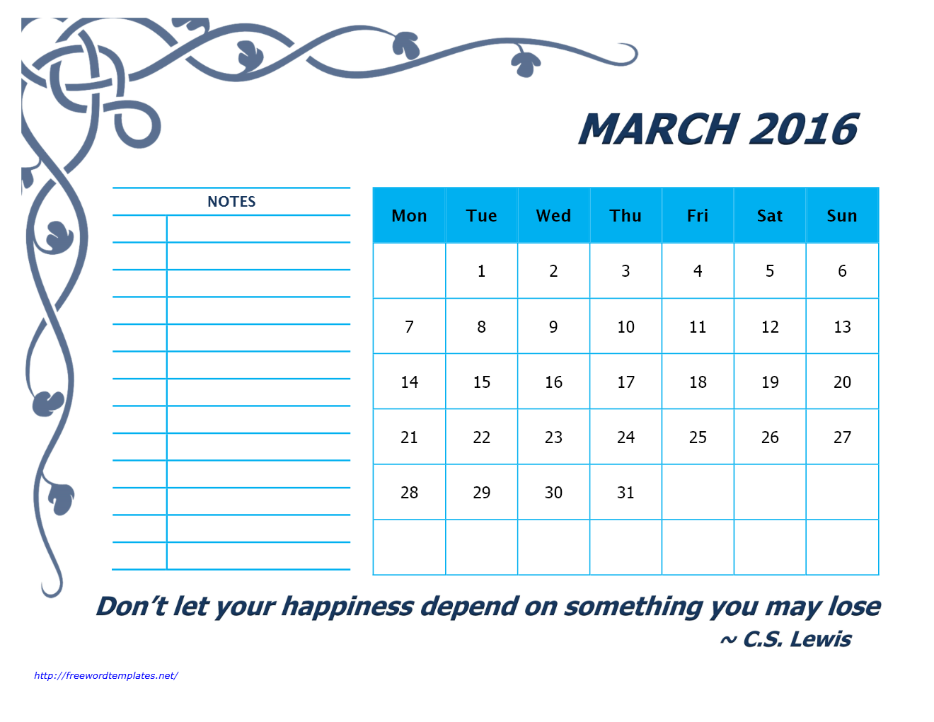 2016 calendar templates 2016 monthly calendar with notes march saigontimesfo